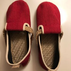 Shoes - Red Slip-on Mary-Jane Style Espadrille Shoes